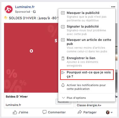 """Capture d'écran d'une publicité Facebook avec le bouton """"Pourquoi est-ce que je vois ça ?"""" affiché."""