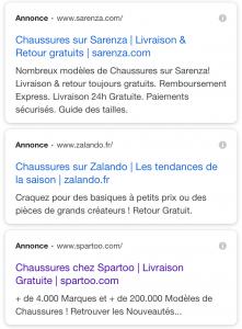 Copie d'écran de la nouvelle mise en page des résultats publicitaires sur la page des résultats de recherche Google.