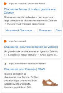 Copie d'écran de la nouvelle mise en page des résultats organiques  sur la page des résultats de recherche Google.