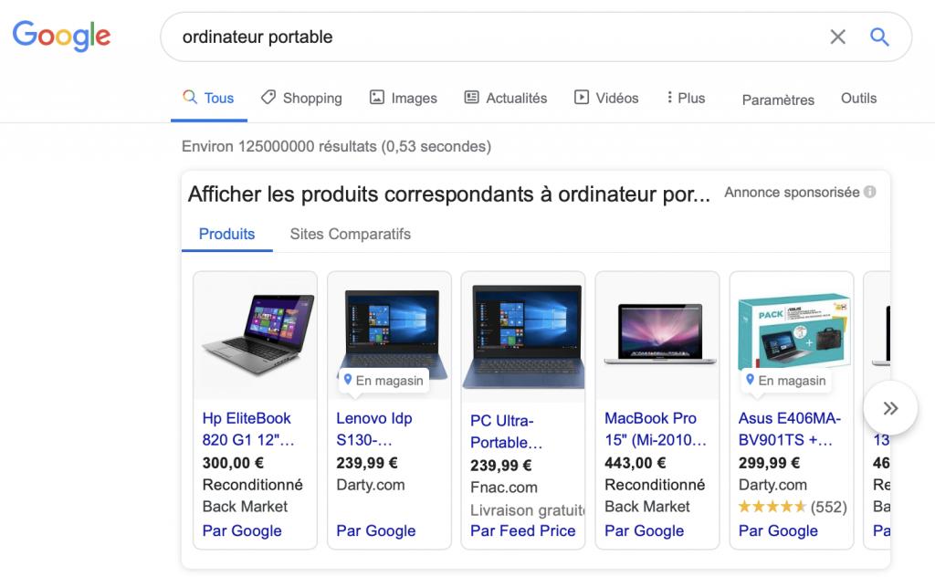 """Capture d'écran de la page de résultats du moteur de recherche Google suite à la requête """"ordinateur portable"""", affichant en premier les résultats provenant de son service Google Shopping."""