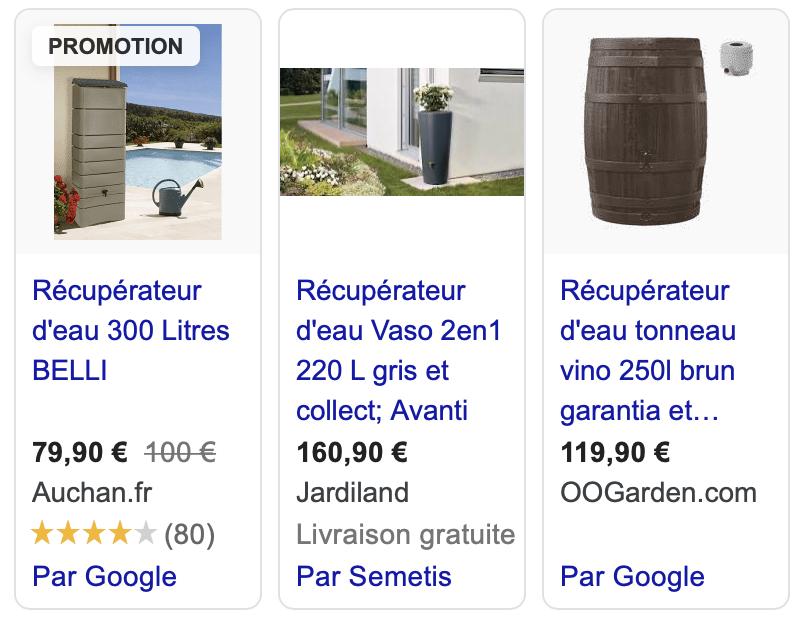"""Capture d'écran des résultats de Google Shopping suite à la requête """"récupérateur d'eau""""."""