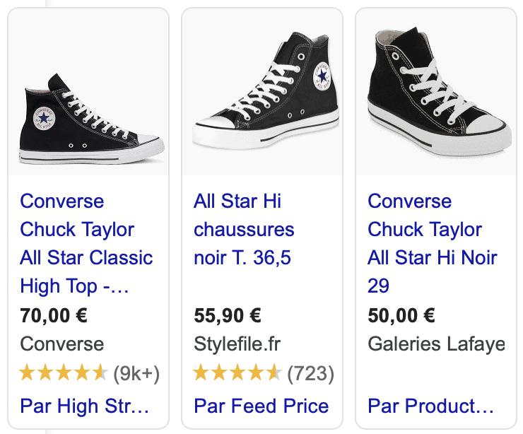 """Capture d'écran de résultats provenant de Google Shopping, suite à la requête """"converse noire""""."""