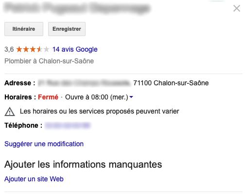 Capture d'écran floutée d'une fiche Google My Business