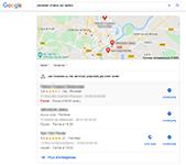 Capture d'écran Google Maps, avec les encarts Google My Business floutés.