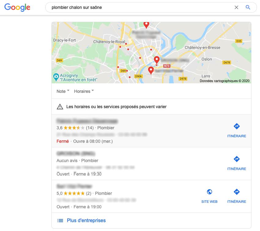 """Capture d'écran floutée de Google Maps, suite à la requête """"plombier chalon sur saône""""."""