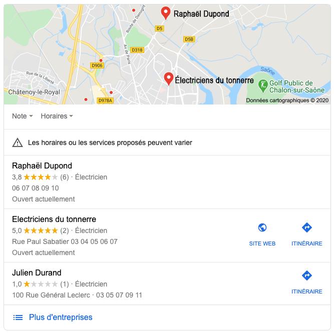 Copie d'écran fictive d'un bloc Google Maps, affichant trois encarts d'électriciens, situés à Chalon-sur-Saône.