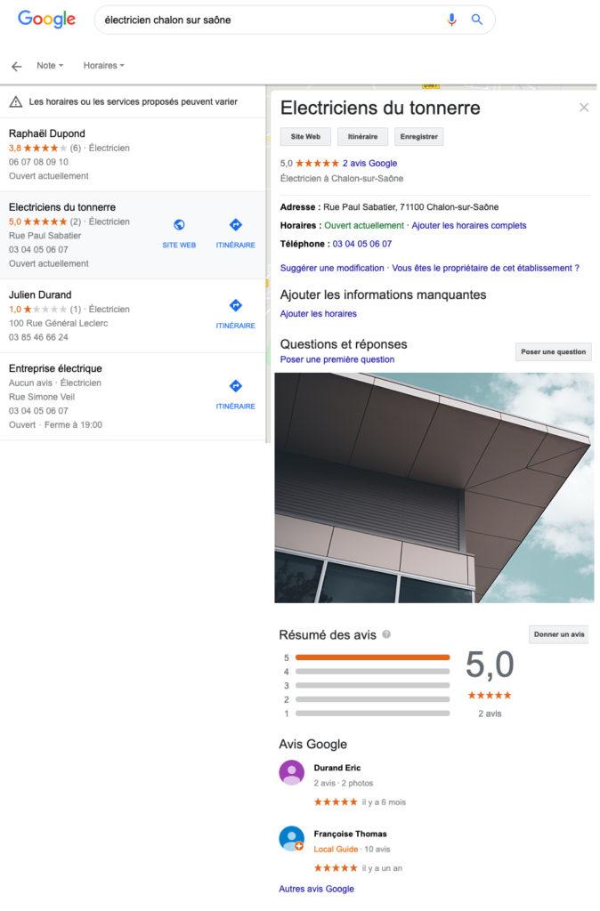 Copie d'écran fictive d'une fiche Google My Business, mettant en avant l'entreprise d'un électricien situé à Chalon sur Saône.
