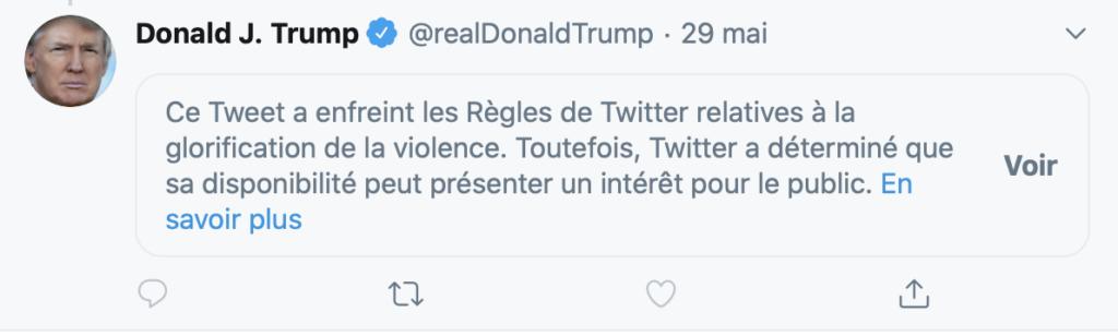 Copie d'écran d'un tweet de Donald Trump, modéré par Twitter.