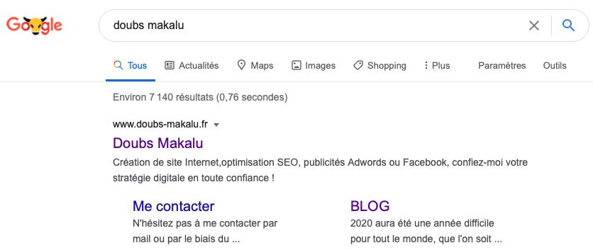 """Capture d'écran de la page de résultats du moteur de recherche Google, après avoir tapé la requête """"Doubs Makalu"""""""